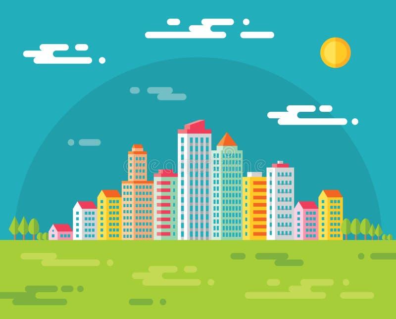 Inbouwend stad - vectorconceptenillustratie in vlakke ontwerpstijl voor presentatie, boekje, website en verschillend ontwerp proj royalty-vrije illustratie