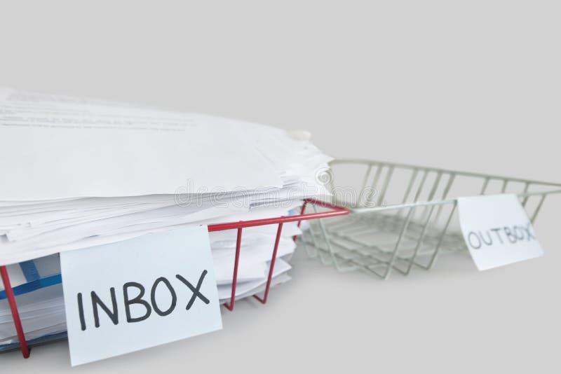 Inbox en outbox dienbladen in een bureau over witte achtergrond stock foto's