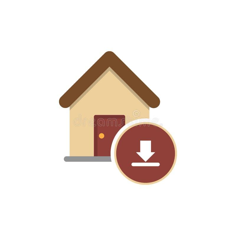 Inbox ikona z domową ikoną ilustracji
