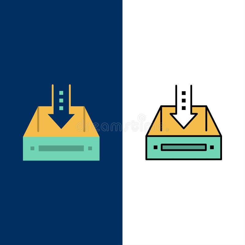 Inbox, Kasten, Kabinett, Dokument, leer, Projekt, Ikonen Ebene und Linie gefüllte Ikone stellten Vektor-blauen Hintergrund ein lizenzfreie abbildung
