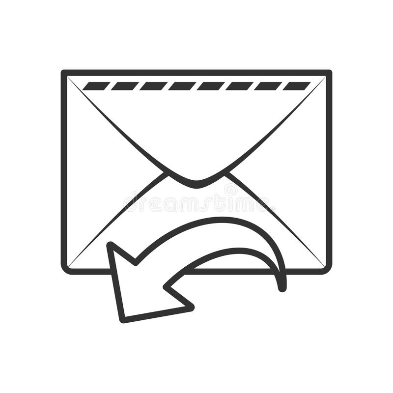 Inbox Mail Email Outline Flat Icon on White. Mail envelope or inbox email outline flat icon with arrow, isolated on white background. Eps file available royalty free illustration