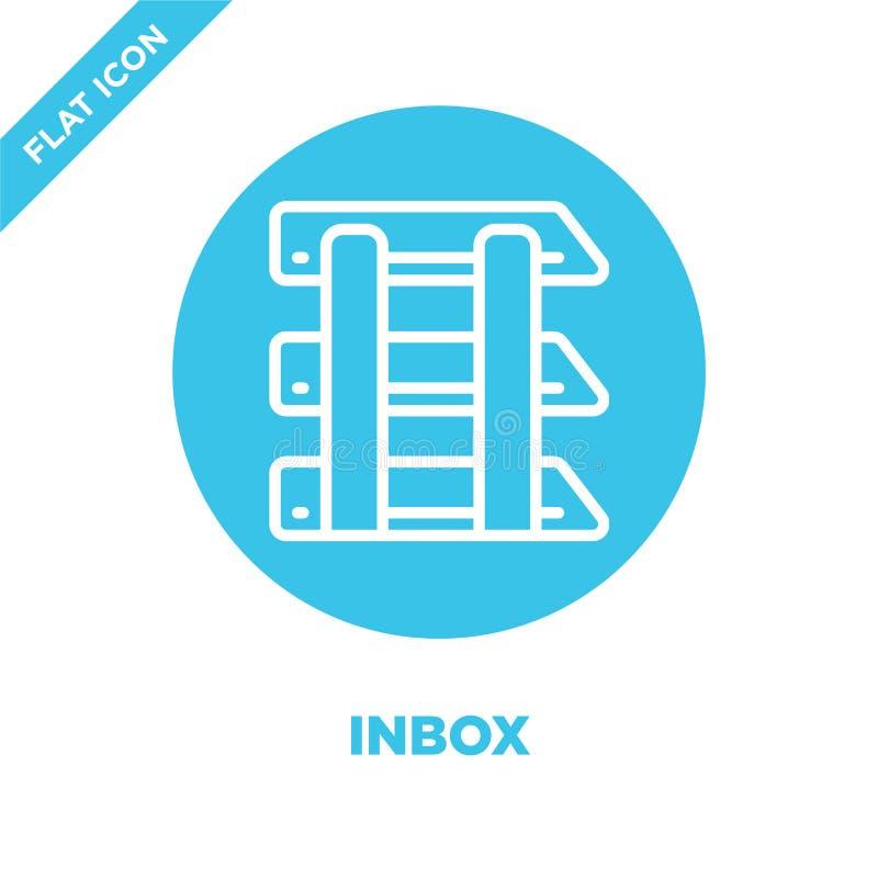 inbox pictogramvector van kantoorbehoefteninzameling De dunne lijn inbox schetst pictogram vectorillustratie Lineair symbool voor royalty-vrije illustratie