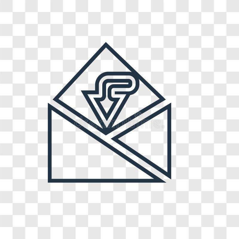 Inbox pojęcia wektorowa liniowa ikona odizolowywająca na przejrzystym backgro royalty ilustracja
