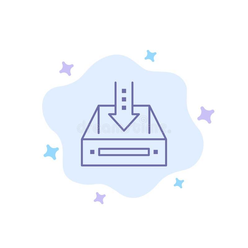 Inbox, pudełko, gabinet, dokument, Pusty, projekt, Błękitna ikona na abstrakt chmury tle royalty ilustracja