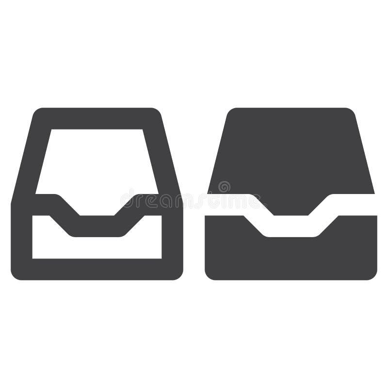 Inbox tjock linje och fast symbol, översikt och fylld pictogram för tecken för vektor som linjär och full, isoleras på vit stock illustrationer