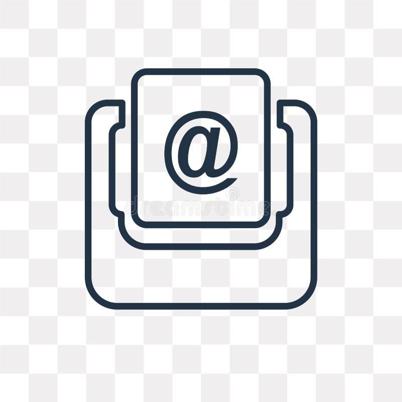 Inbox vectordiepictogram op transparante achtergrond, lineaire Inb wordt geïsoleerd stock illustratie