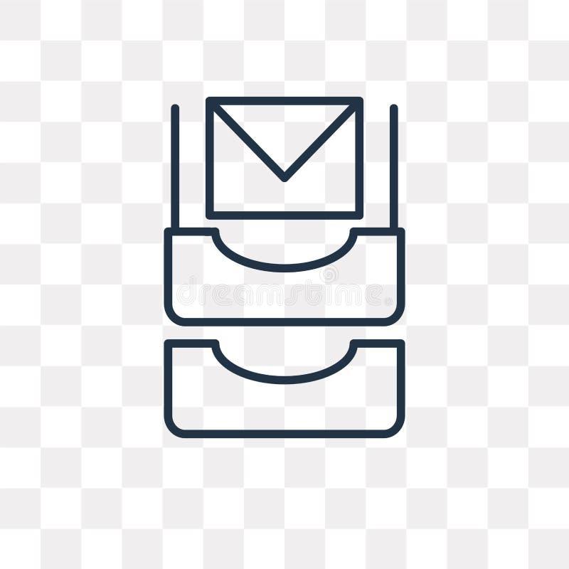 Inbox-Vektorikone lokalisiert auf transparentem Hintergrund, lineares Inb stock abbildung