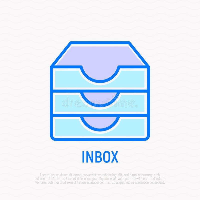 Inbox wiadomości cienka kreskowa ikona również zwrócić corel ilustracji wektora ilustracji