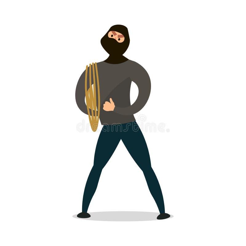 Inbreker met zwarte masker en wandelingskabel klaar om misdadige actie te doen vector illustratie