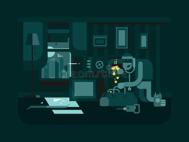 Inbrottstjuv i lägenheten vektor illustrationer
