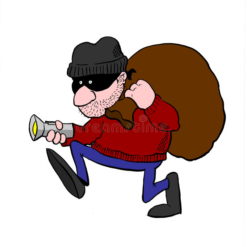 Inbrottstjuv som omkring förföljer med ficklampa- och byltepåsen royaltyfri illustrationer