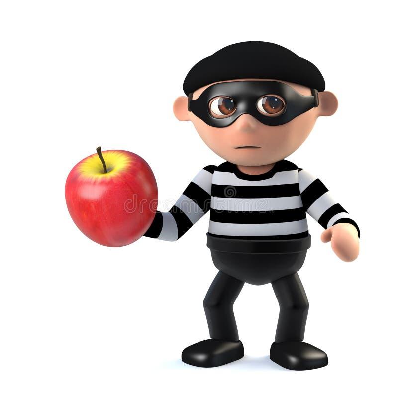 inbrottstjuven 3d stjäler ett äpple stock illustrationer