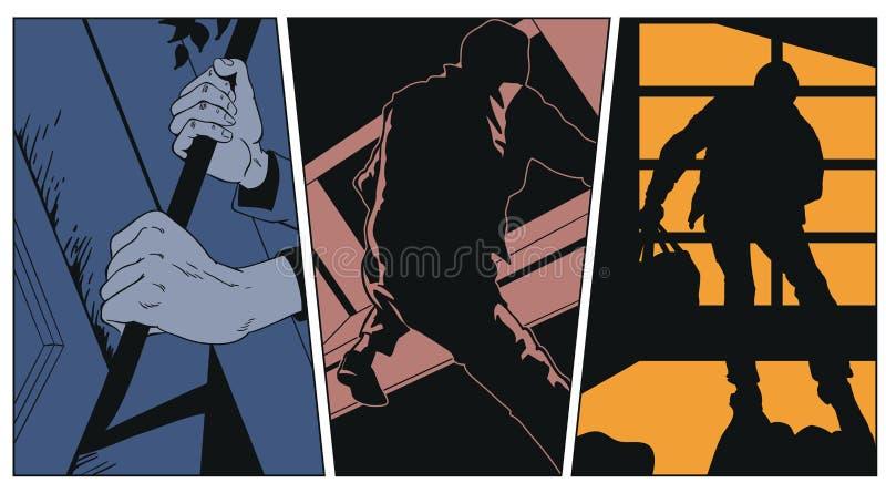 Inbrottstjuven klättrar in i hus för illustrationorange för bakgrund ljust materiel stock illustrationer