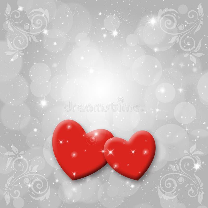 inbunden vektor för valentin för daghjärtaillustration s två royaltyfri illustrationer