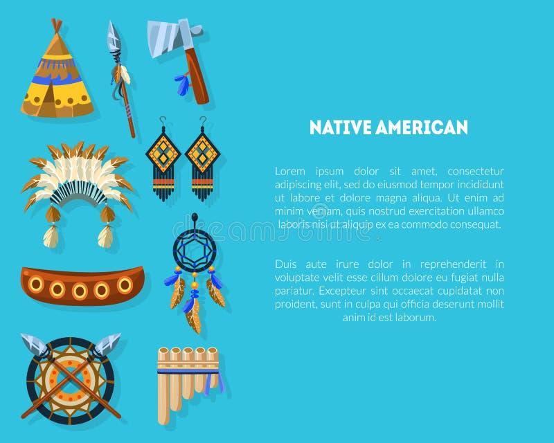 Inbyggd amerikansk banderollmall med etniska indiska symboler, tema, Headdress, avläsningar och utrymme för textvektor vektor illustrationer