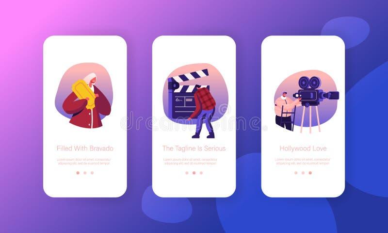 Inbyggd skärmuppsättning för Inbyggd sida för Mobile App Operatör med kamera, personal med inspelningsfilm från Clapperboard stock illustrationer
