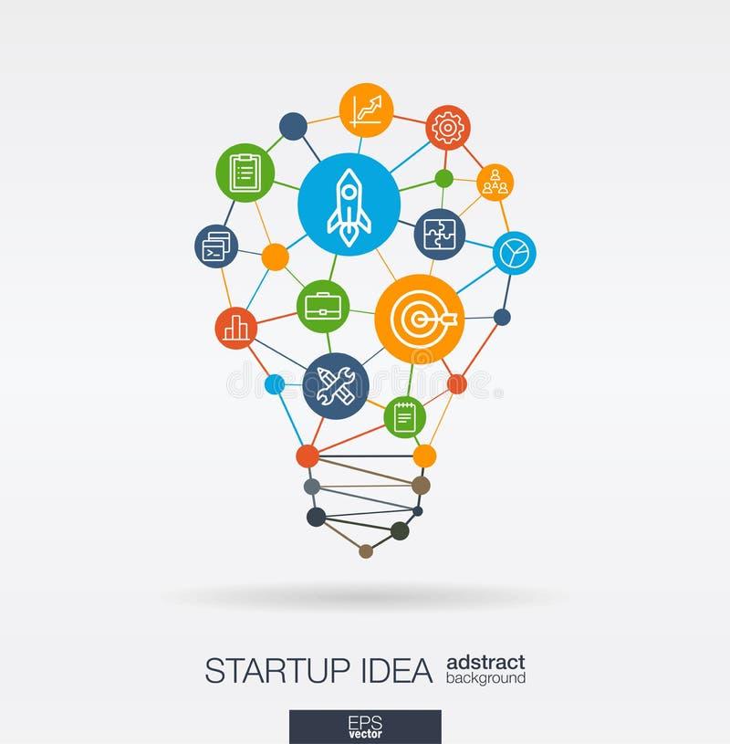 Inbyggd tunn linje symboler för start Begrepp Digital för nerv- nätverk Idé lösning i form för ljus kula stock illustrationer