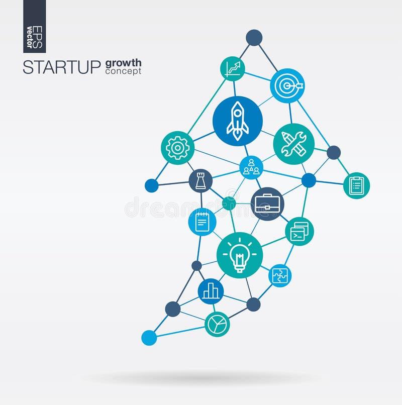 Inbyggd tunn linje symboler för start Graph diagramtillväxt, framsteg och framgång i övre form för pil Digital nerv- nätverk stock illustrationer