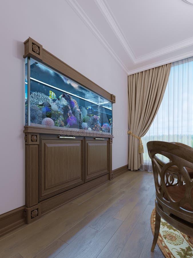 Inbyggt akvarium med ett kabinett under det i en klassisk stil i en träram stock illustrationer
