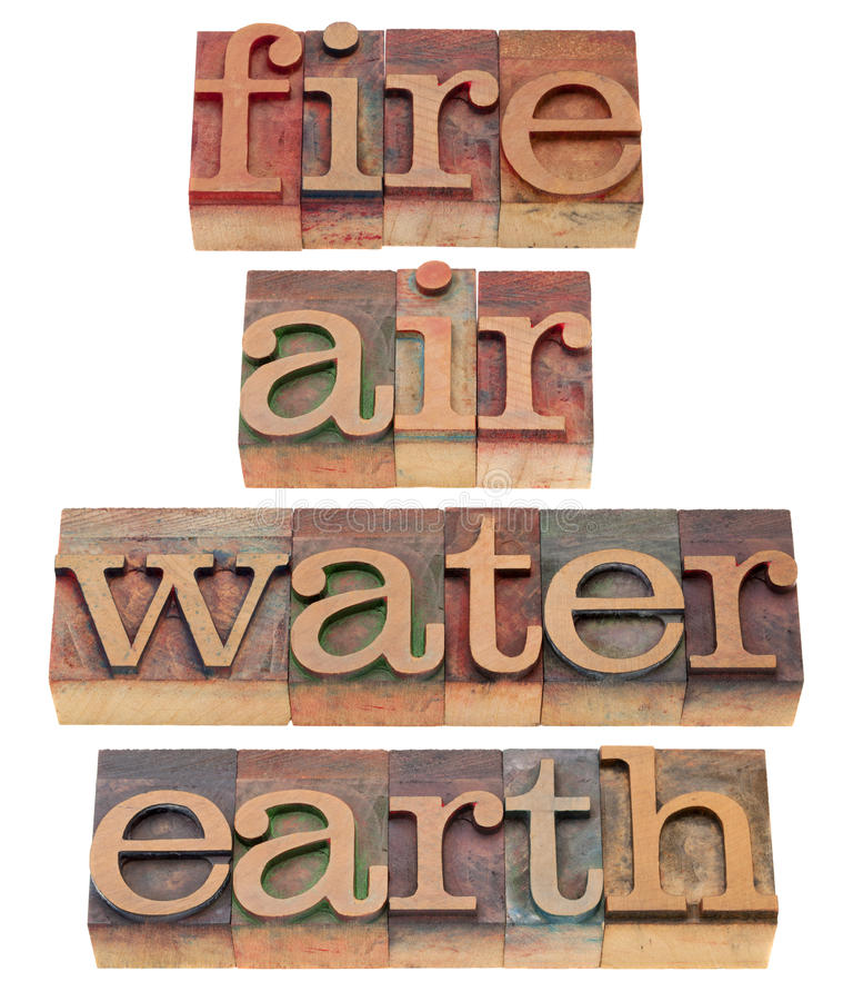 Incêndio, ar, água e terra imagens de stock