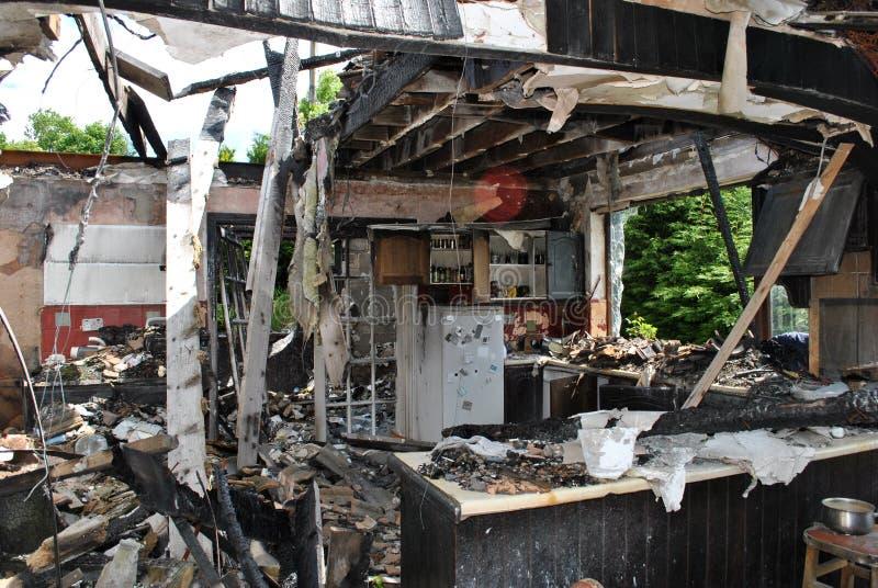 Incêndio da casa fotografia de stock