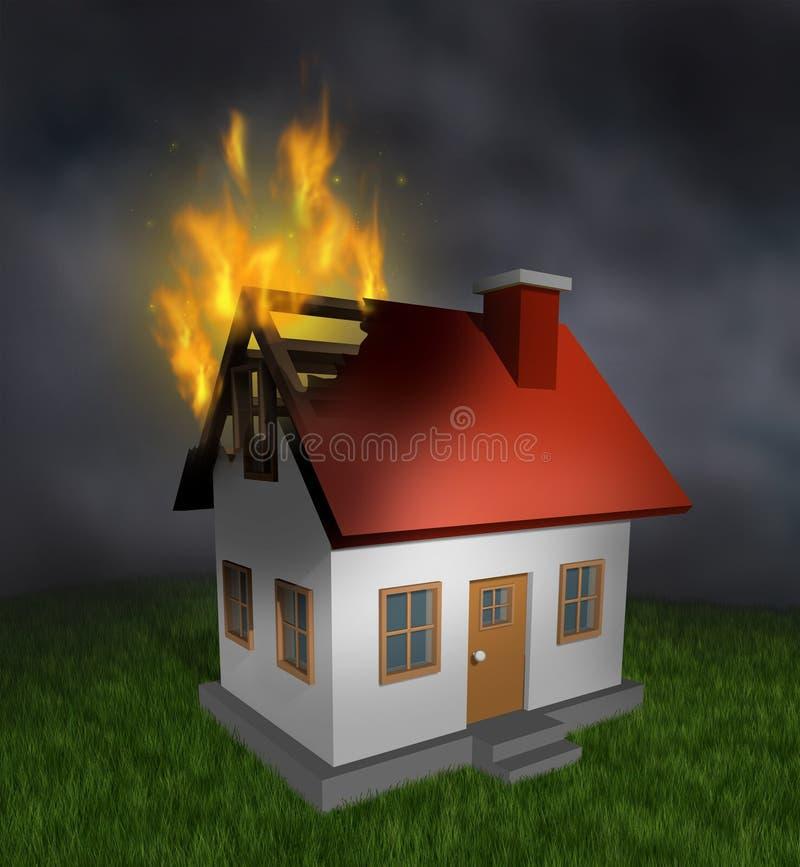 Incêndio da casa ilustração royalty free