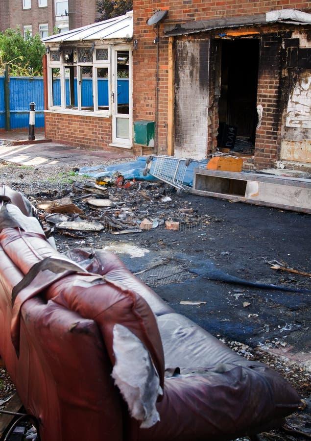 Incêndio da casa queimado fotos de stock royalty free