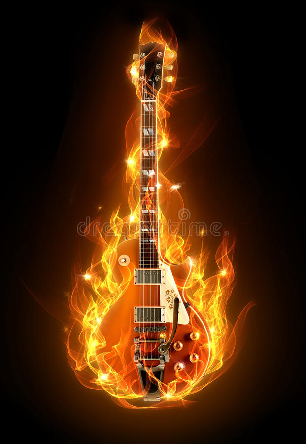 Incêndio da guitarra ilustração do vetor