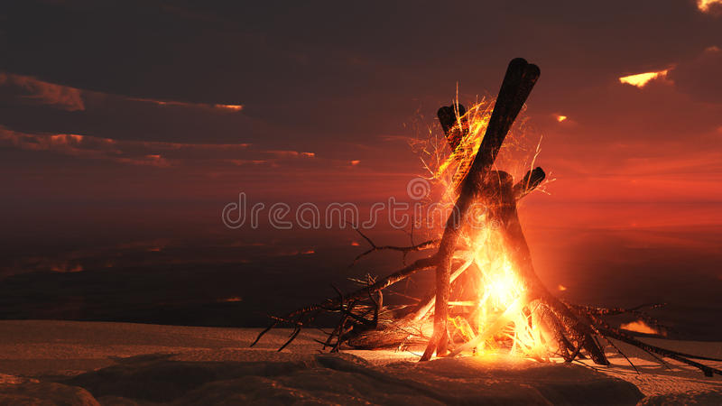 Incêndio do acampamento no por do sol ilustração do vetor