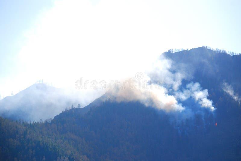 Incêndio florestal nas montanhas foto de stock royalty free
