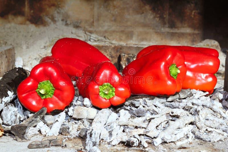Incêndio grelhado do ember das pimentas vermelhas imagens de stock royalty free