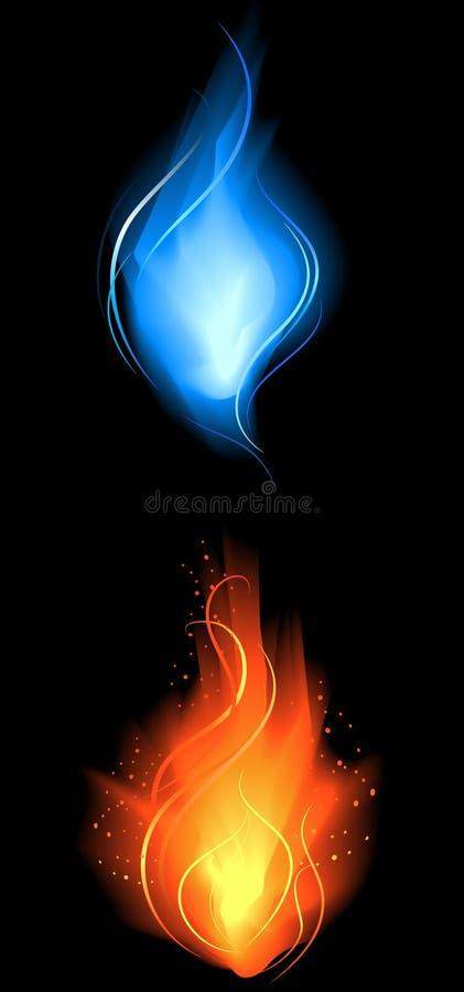 Incêndio pouco vermelho e azul ilustração stock