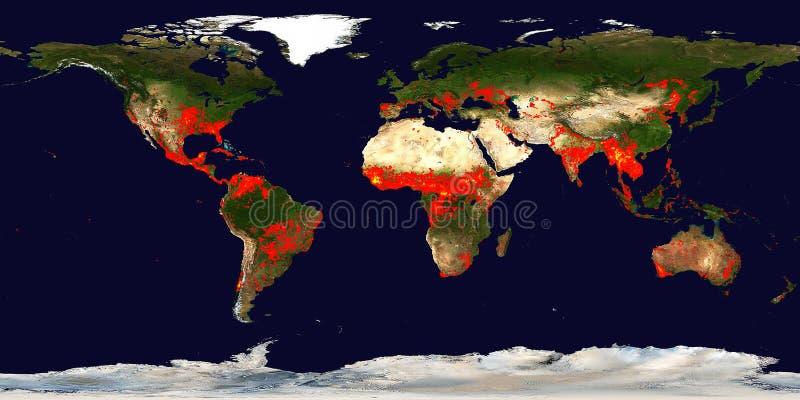 Incêndios localiza mapa da Terra Imagem panorâmica do satélite imagens de stock royalty free