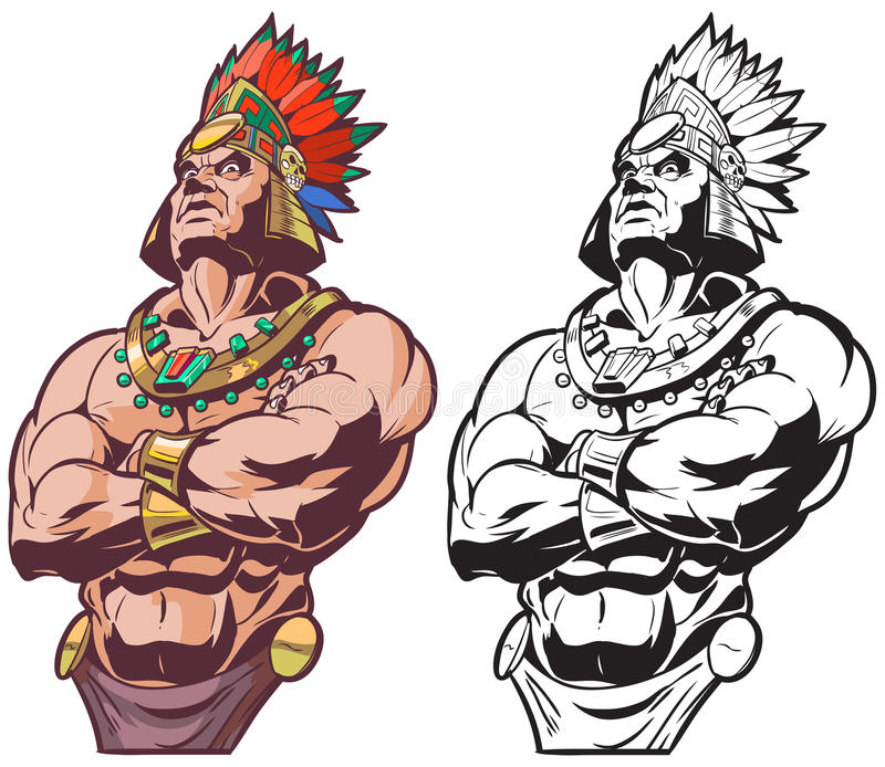 Inca ή των Μάγια ή των Αζτέκων κύριας διανυσματική μασκότ πολεμιστών ή ελεύθερη απεικόνιση δικαιώματος