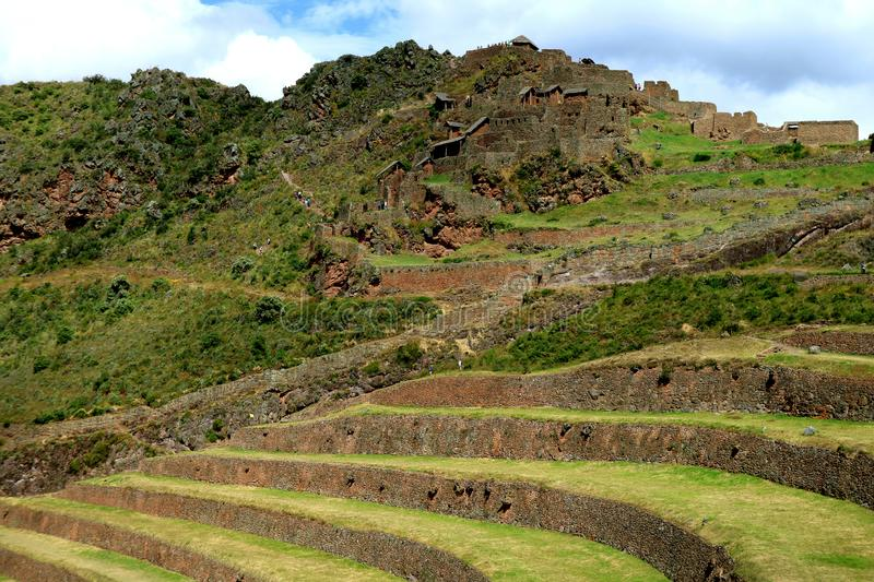 Inca agricultural terraces and the ancient ruins at Pisac Archaeological Site, Sacred Valley, Peru royalty free stock photo