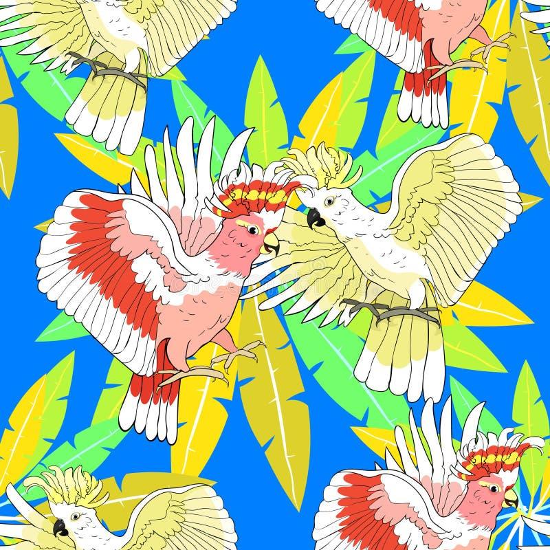 Inca exótico do rosa do papagaio de cacatua do teste padrão sem emenda Vetor Illust ilustração do vetor