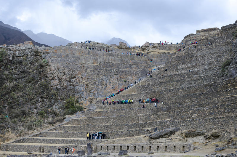 Inca-forte Ollantaytambo - Peru fotografia de stock