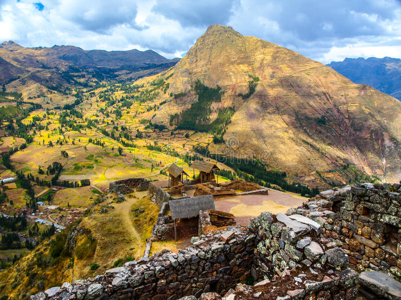Inca fortress ruins Pisaq in Urubamba river Sacred Valley, Peru, South America stock images