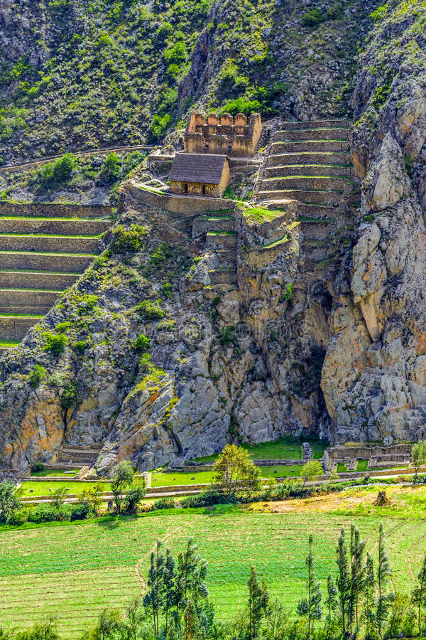 Inca Fortress with Terraces and Temple Hill in Ollantaytambo, Pe royalty free stock photo