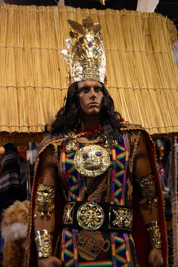 Inca king. Representation with jewelry and clothing of an Inca king royalty free stock photo