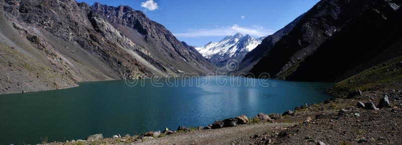 Inca Lagoon panorámico, Chile imagen de archivo libre de regalías