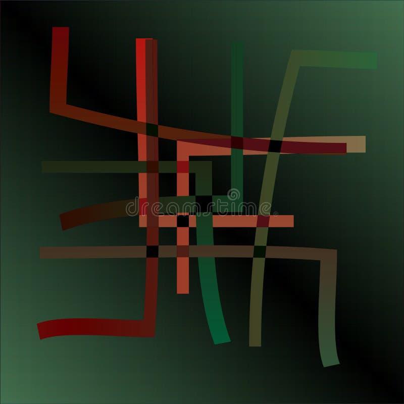 INCA LINES MANDALA, DARK GREEN BACKGROUND, RED, ORANGE , BLACK, BEIGE LINES stock illustration