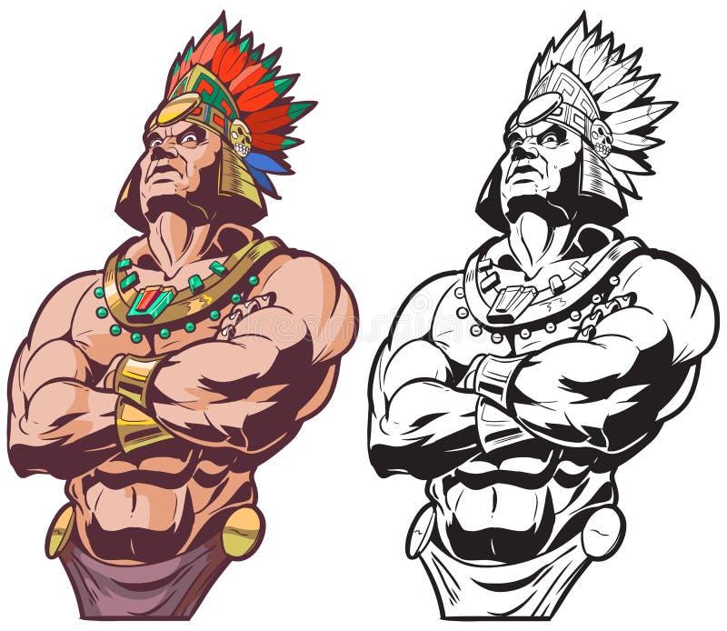 Inca ou mascote maia ou asteca do vetor do guerreiro ou do chefe ilustração royalty free