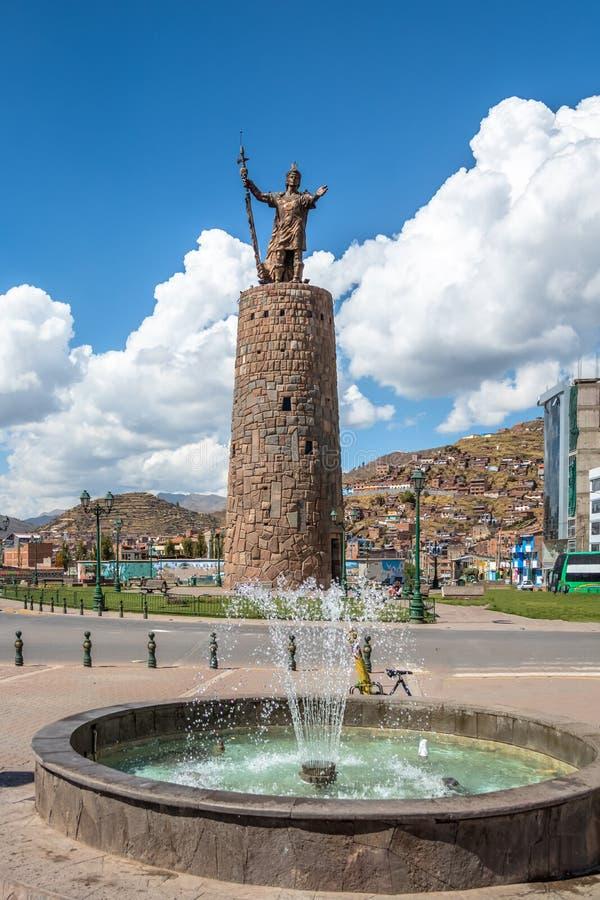 Inca Pachacutec Monument - Cusco, Peru fotos de stock royalty free