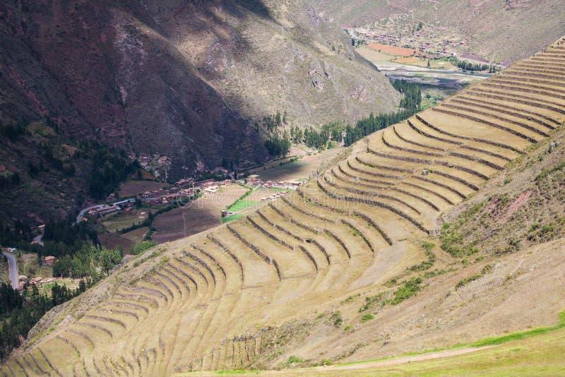 Inca Pisac, Peru. Inca terraces in Pisac. It is a Peruvian village in the Sacred Valley stock images