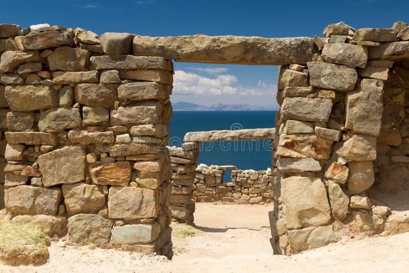Inca ruins above Lake Titicaca. Bolivia stock photos