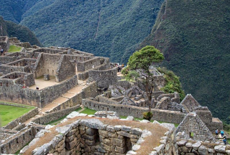 Inca Ruins antigo em Machu Picchu, Peru fotografia de stock