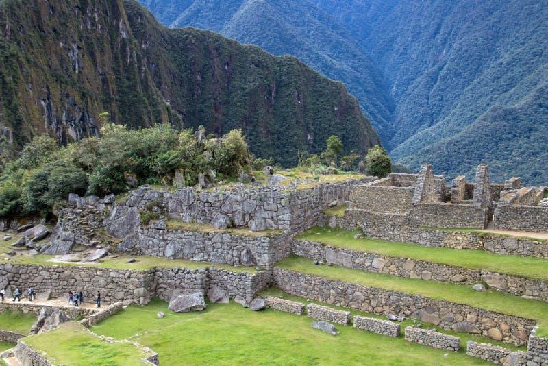 Inca Ruins antigo em Machu Picchu, Peru imagem de stock