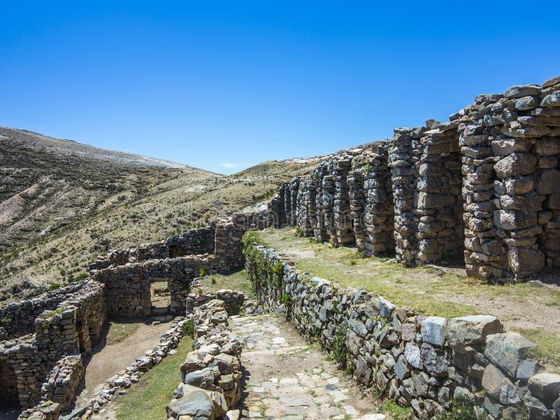 Inca Ruins de Isla del Sol, Bolivia fotografía de archivo