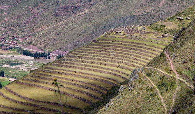 Inca Ruins i Pisac arkivfoto